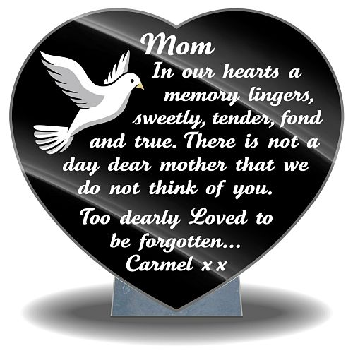 Graveside memorial plaques with Mom bereavement poems