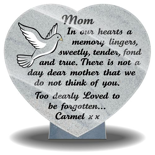 Ideas for Mum's grave site with personalized inscriptions and dove