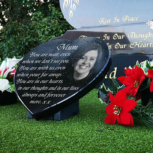 Funeral Verses for Mother's with Mum remembrance photo engraved on music heart plaque