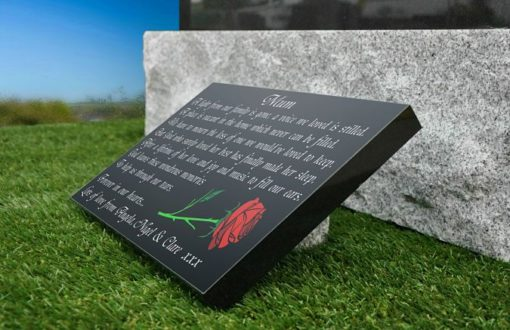 Mother Grave Plaque with Red Rose and Personalized Memorial Poem