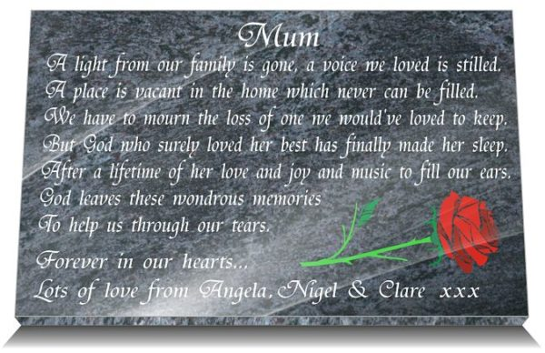 Mom Grave Markers with Rose and Mum Memorial Poem