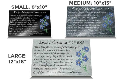 Mom Memorial Plaque with Forget me not funeral poem and flower