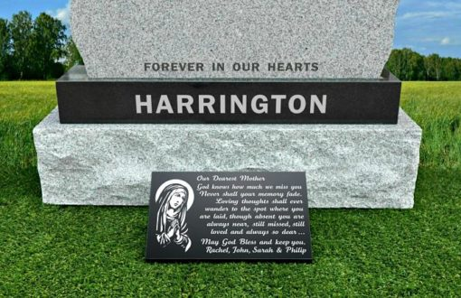 Memorial Verses and The Virgin Mary on Mother Grave Plaques