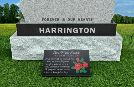 Black Granite Memorial Plaques with Roses and Mom's Day Memorial Quotes