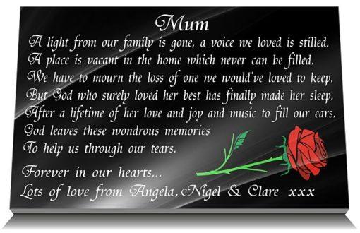 Black Granite Grave Plaques with Mum Memorial Poem