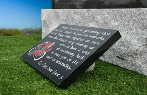 Motorbike Grave Plaques with Motorcyclist on Bike