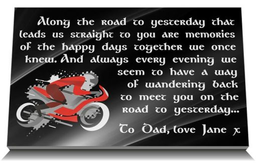 Motorcycle memorial plaque with photo and funeral verse
