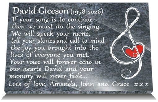 Musical Memorials for headstones with musical note with heart