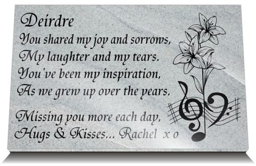 Sister Memorial Quotes and Poems with Lily Music Notes image