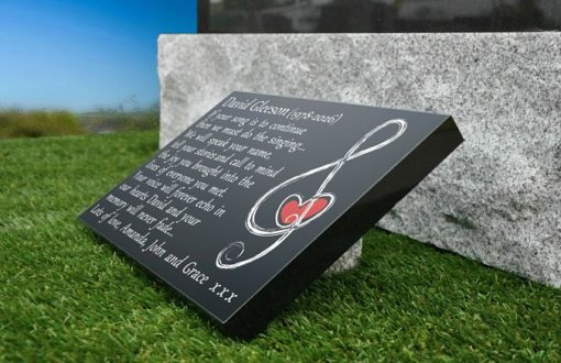 Musical Gravestone Plaque with memorial quotes for musicians