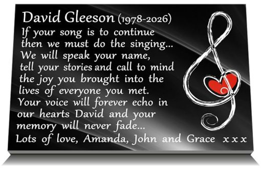 Music Headstone Memorials with musical note with heart for graveside