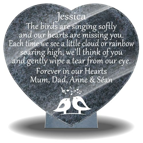 Bird Sympathy Tribute for headstones with personalized funeral poems