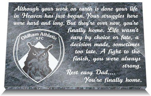 Oldham Athletic AFC Memorial Plaque