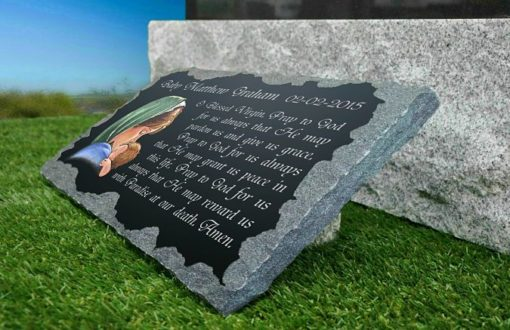 Virgin Mary Grave Markers with prayer engraved in stone