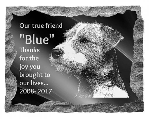 Parson Russell Terrier Dog Memorial headstone plaque