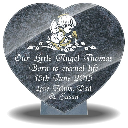 Personalized baby memorial gifts on heart-shaped angel design for headstones
