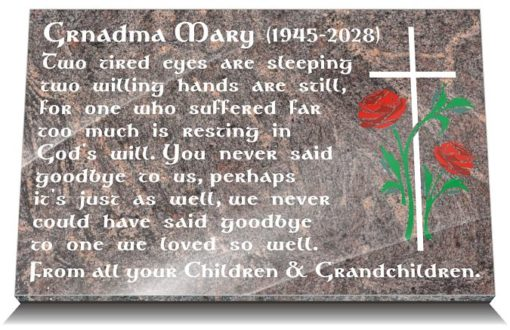 Granny Memorial Plaques with flowers and Grandmother sympathy messages