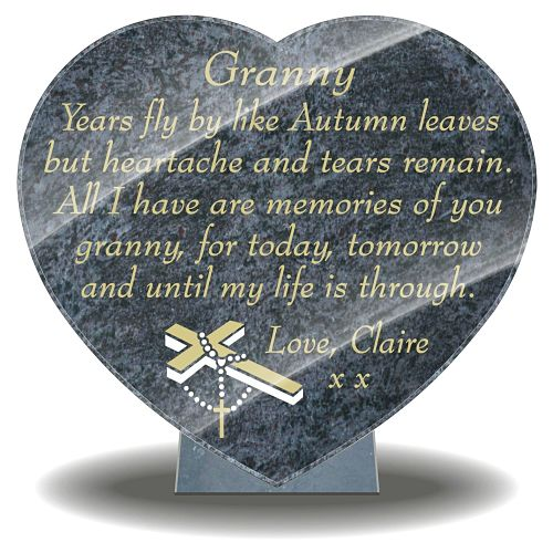 Grandmother tribute Poem on memorial plaque for grave
