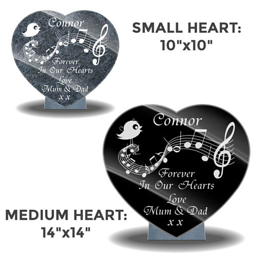 Heart-shaped custom-made memorial plaques for graves