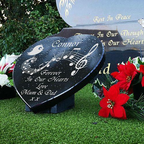 Granite Music Heart for Headstones and Gravestone Memorials
