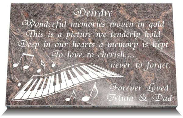Piano Keys grave Plaques with funeral verses