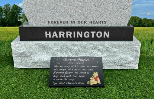 Memorial Poem for Baby with Teddy Bear engraved on Granite plaque