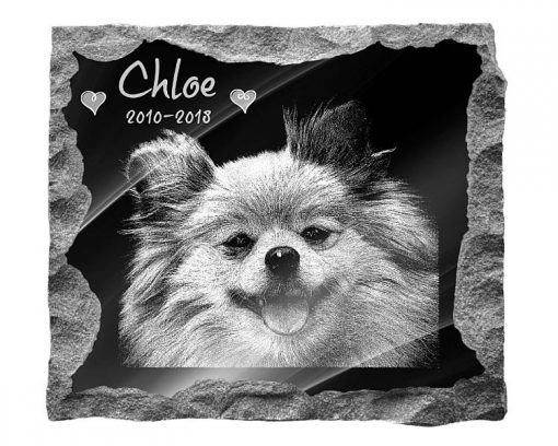 Pomeranian Dog Memorial graveside plaque