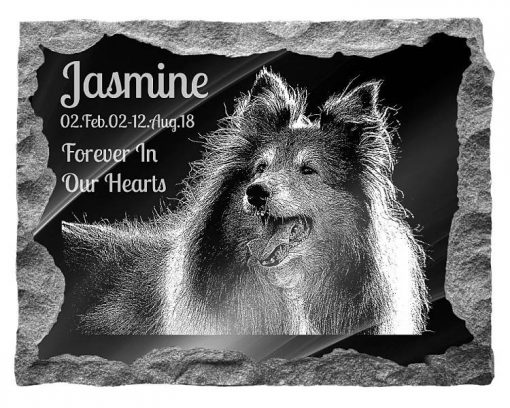 Rough Collie Dog Memorial gravestone plaque