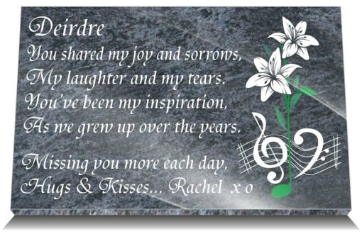 Sister Memorial Plaques for headstones with personalized Sister tribute poem