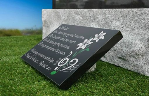 Sister's tribute poem engraved on black granite grave plaque for headstone