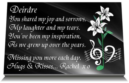 Sister Grave Plaque with Lily music notes and personalized sister memorial poem