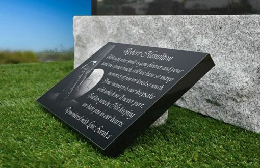 Soccer Grave Ornaments for Cemetery Headstones with Football engraved in granite