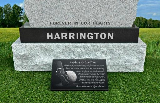 Football Gravestone Gifts with personalised memorial poems engraved on granite
