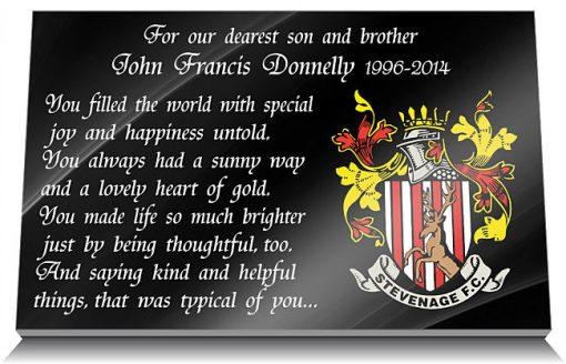 Stevenage Football Club Memorial Plaque