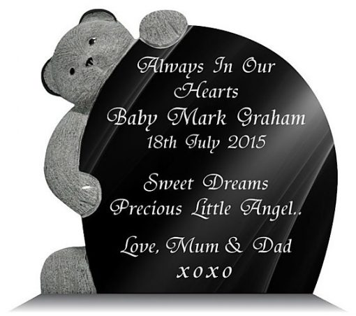 Teddy bear memorial plaque for a baby