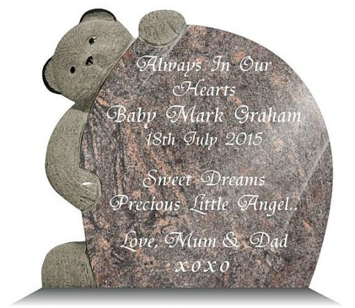 Teddy bear memorial for a young child