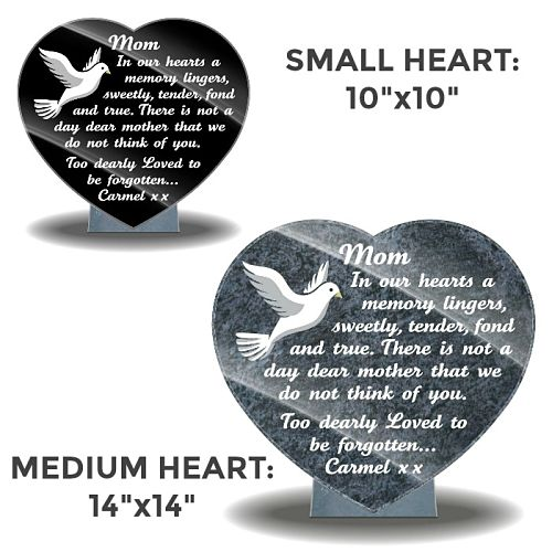 Heart Shaped Memorial Plaques for Graves with personalized Mom bereavement poems