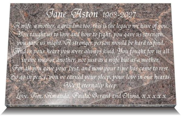 Mother memorial plaque wording for headstones and grave plaques