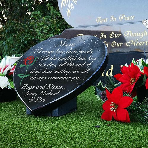 Mother Heart Plaque with Red Rose and Poem