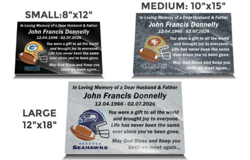 Gridiron Gravestone Ornaments with NFL team logos and headstone inscriptions