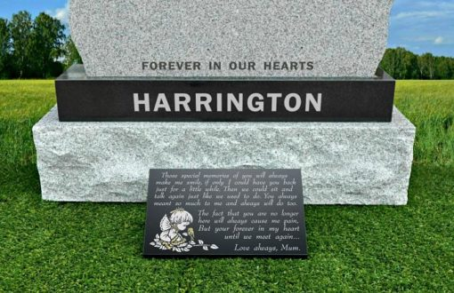 Personalized Angel Baby Grave Plaque with memorial verse