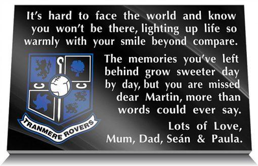 Tranmere Rovers FC Memorial Plaque
