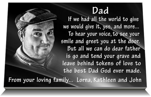 Photograph grave ornaments for Dad with memorial verse