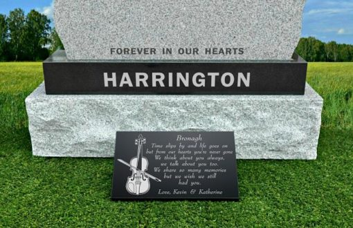 Violin Grave Plaques with Fiddle Memorial Images for Gravestones