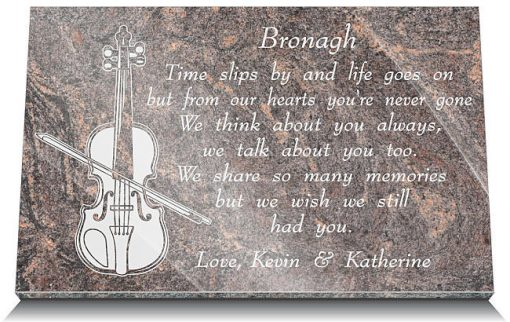 Violinist's Grave Ornaments with musician's remembrance poem