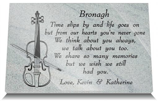 Violin Grave Plaques with Fiddle memorial images