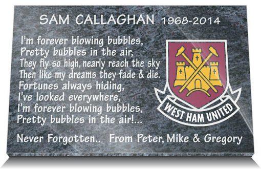 West Ham FC Memorial Plaque