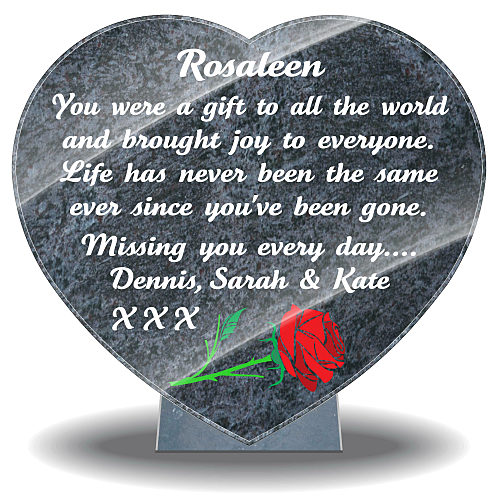 Granite Heart-Shaped Plaque for Grave with rose and memorial verse