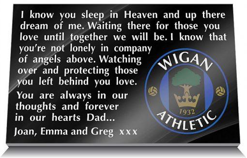 Wigan Athletic FC Memorial Plaque