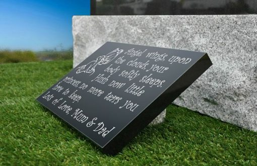 Memorial for loss of baby made from Granite with funeral verse